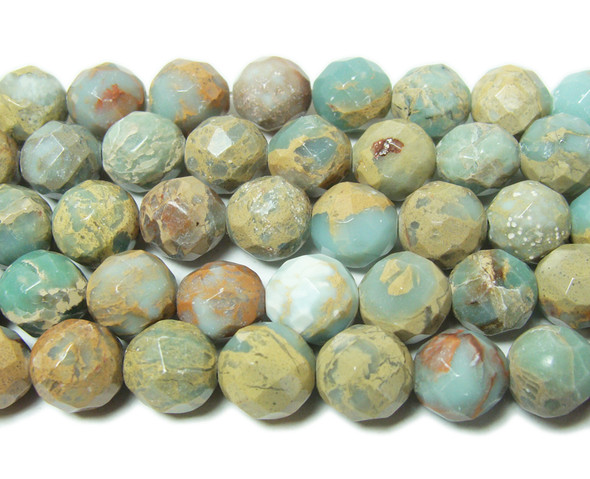 10mm Snake skin jasper faceted round beads