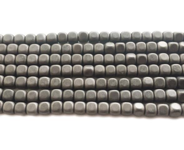 4mm Iron Gray Hematite Matte Cube Beads