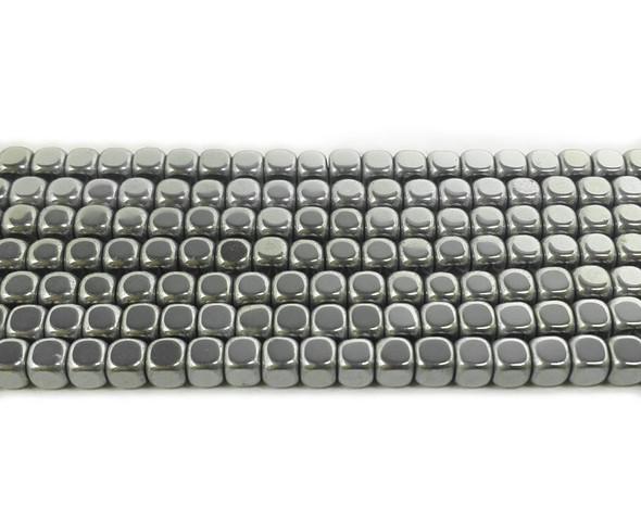 4mm Silver Hematite Cube Beads