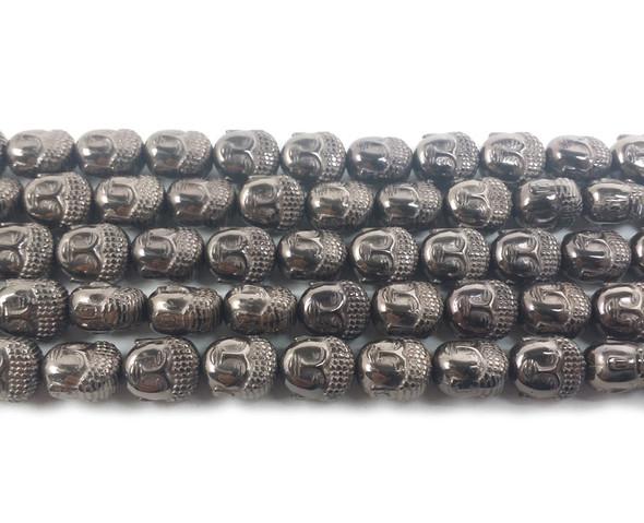 9x10mm Iron Gray Hematite Buddha Head Beads