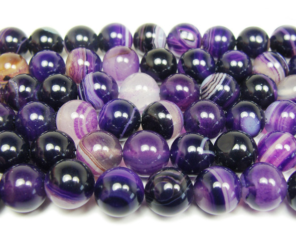 8mm 15 Inch Purple Striped Agate Plain Round Beads