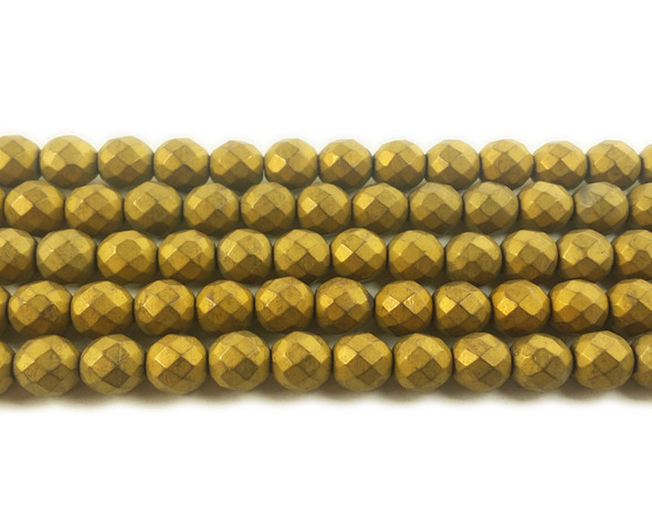 8mm Gold Hematite Matte Faceted Round Beads