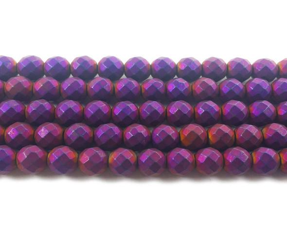 8mm Purple Hematite Matte Faceted Round Beads
