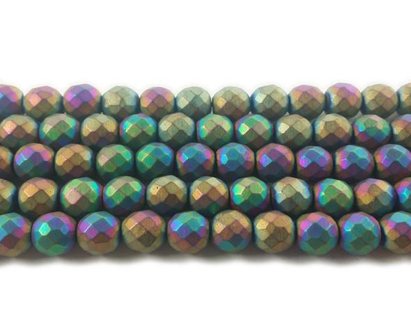 8mm Rainbow Hematite Matte Faceted Round Beads