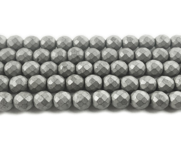 8mm Silver hematite matte faceted round beads