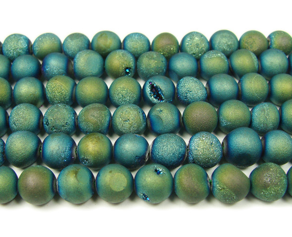 8mm  15 inch Sea green electroplated druzy agate round beads