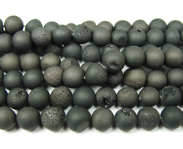 14mm  15 inch Black electroplated druzy agate round beads