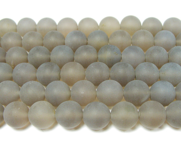 10mm  15.5 inch Gray matte agate round beads