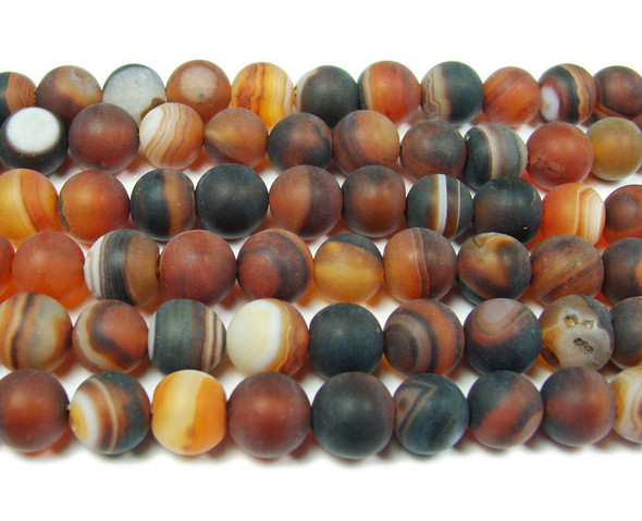 8mm 15.5 Inch Striped Dream Agate Matte Round Beads