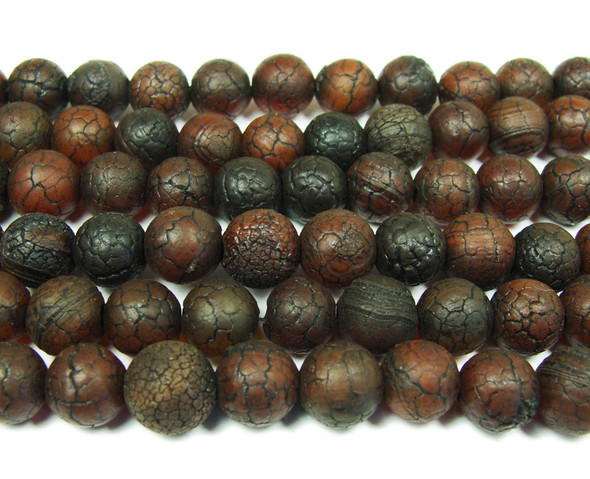 10mm 10 Inch Antiqued Dark Red Agate Round Beads
