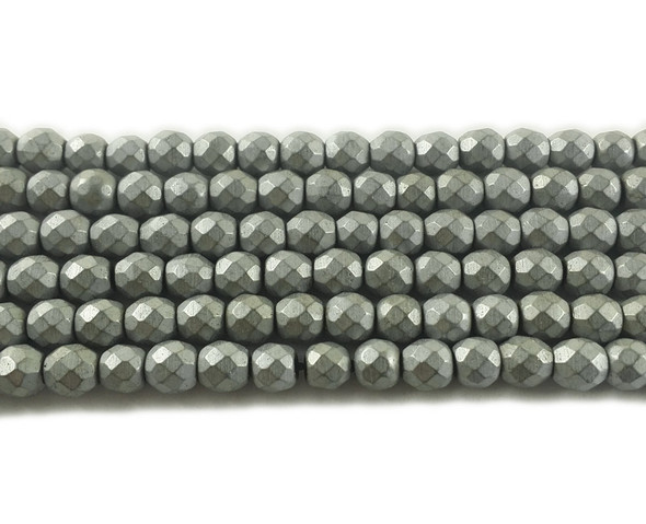 6mm Silver hematite matte faceted round beads