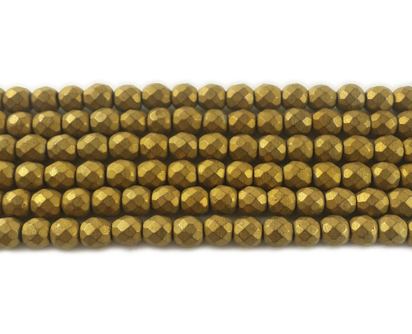6mm Gold Hematite Matte Faceted Round Beads