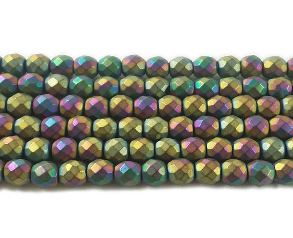 6mm Rainbow Hematite Matte Faceted Round Beads
