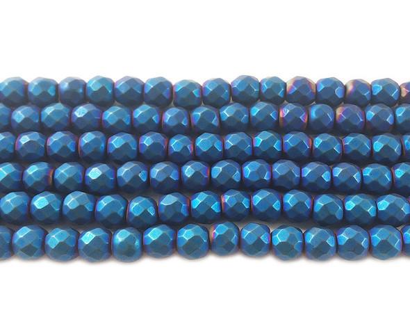 6mm Blue Hematite Matte Faceted Round Beads