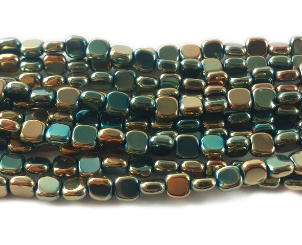 4x4mm Multicolor Sea Green And Light Gold Hematite Flat Square Beads