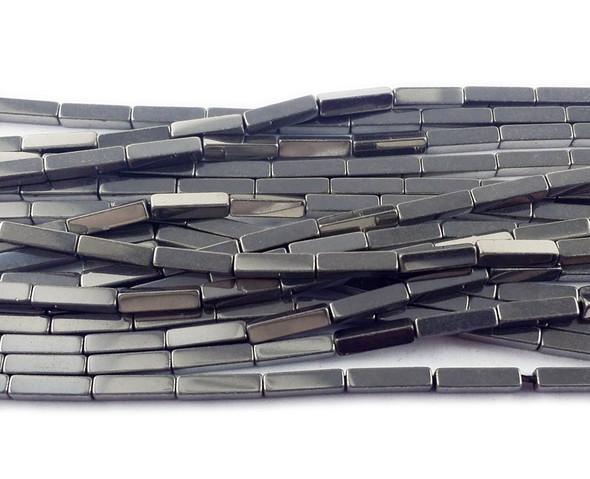 2x8mm Silver Hematite Rectangle Beads