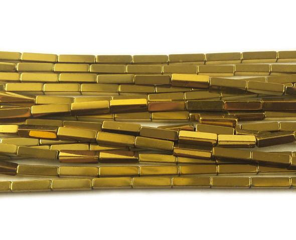 2x8mm Gold hematite rectangle beads