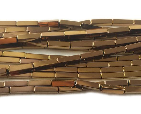 2x8mm Bronze brown hematite rectangle beads