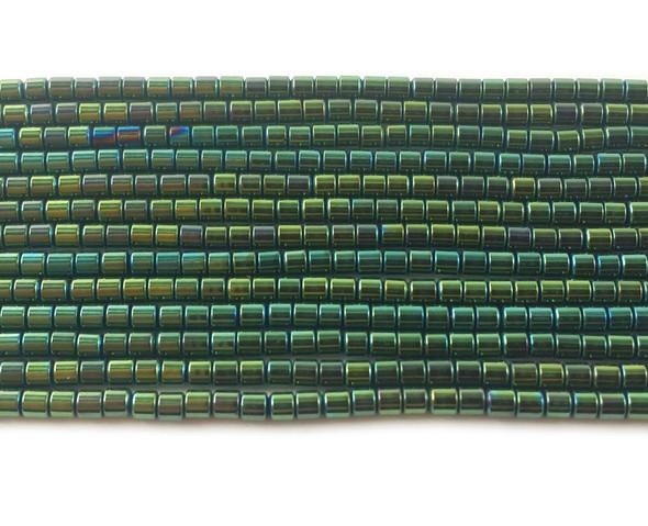 2x2mm Sea green hematite tube beads