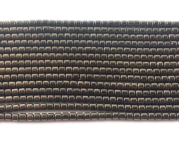 2x2mm Iron gray hematite tube beads