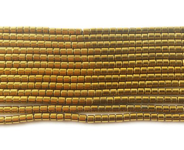 2x2mm Gold hematite tube beads