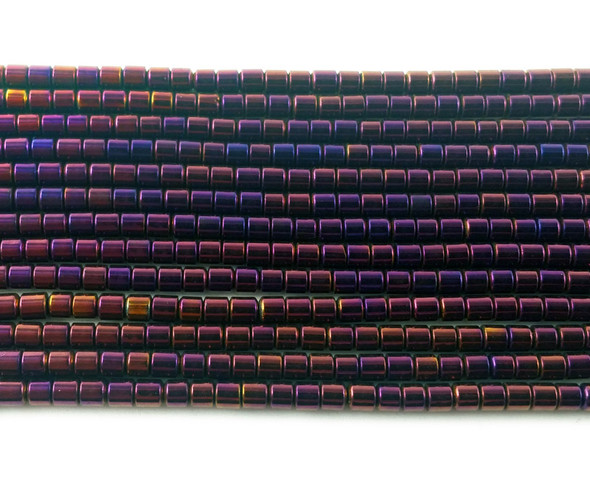 2x2mm Purple magenta hematite tube beads