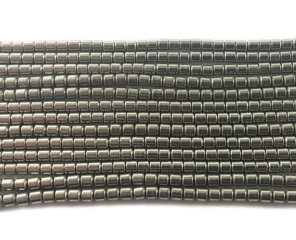 2x2mm Silver hematite tube beads