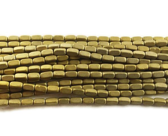 2x4mm Light gold hematite rectangle matte beads