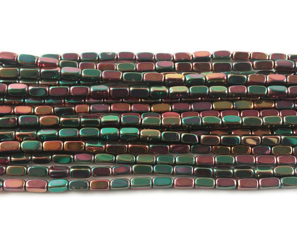 2x4mm Green and red multicolor hematite rectangle beads