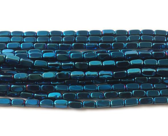 2x4mm Blue hematite rectangle beads