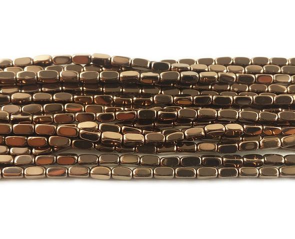 2x4mm Bronze brown hematite rectangle beads