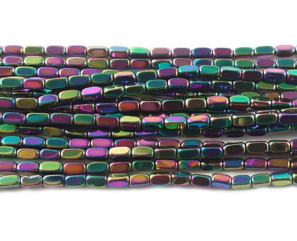2x4mm Rainbow hematite rectangle beads