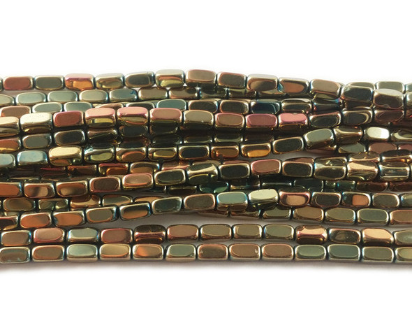 2x4mm Light bronze and sea green rectangle beads