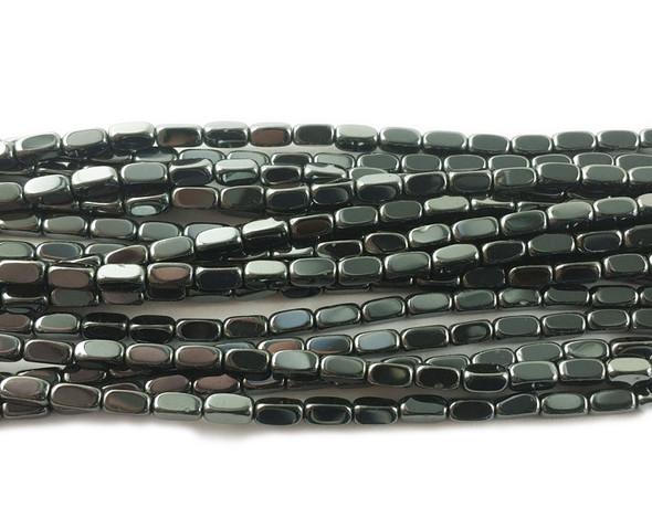 2x4mm Dark gray rectangle beads