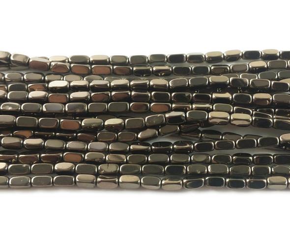 2x4mm Iron gray rectangle beads