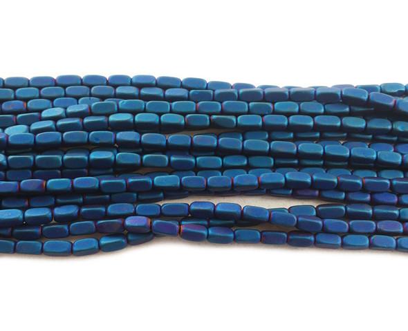 2x4mm Blue hematite rectangle matte beads