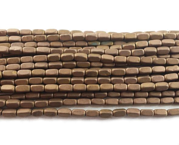 2x4mm Bronze brown hematite rectangle matte beads