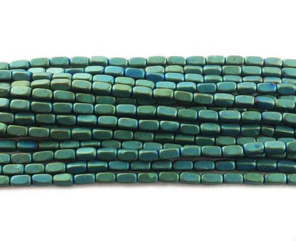 2x4mm Sea green hematite rectangle matte beads