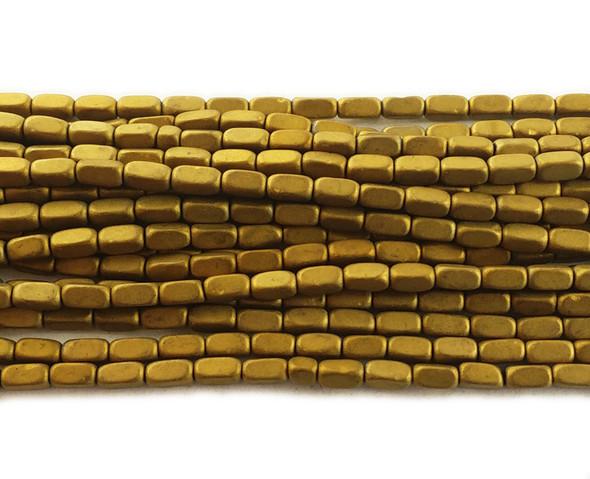 2x4mm Gold hematite rectangle matte beads