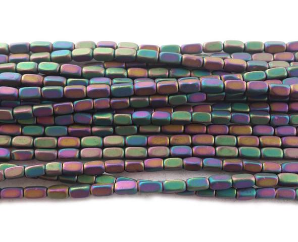 2x4mm Light rainbow hematite rectangle matte beads