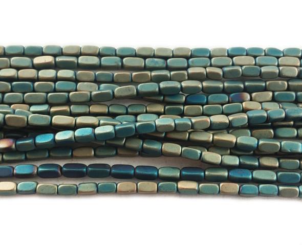 2x4mm Light sea green hematite rectangle matte beads