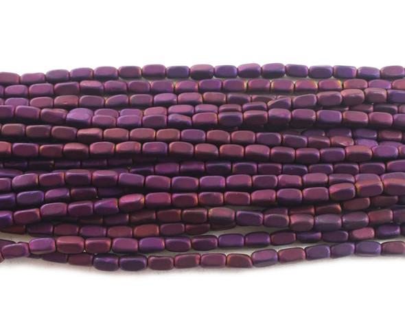2x4mm Purple hematite rectangle matte beads