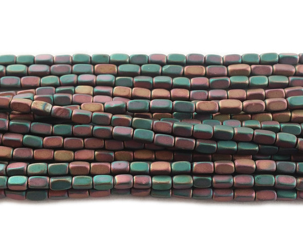 2x4mm Red and sea green multicolor hematite rectangle matte beads