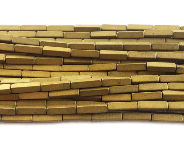 2x8mm Gold hematite matte rectangle beads