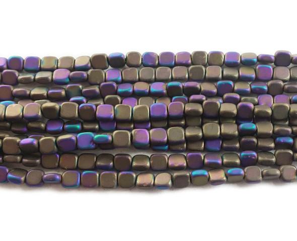 4x4mm Dark Purple And Iron Gray Multicolor Hematite Flat Matte Square Beads