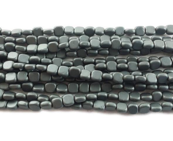 4x4mm Dark Gray Hematite Flat Matte Square Beads