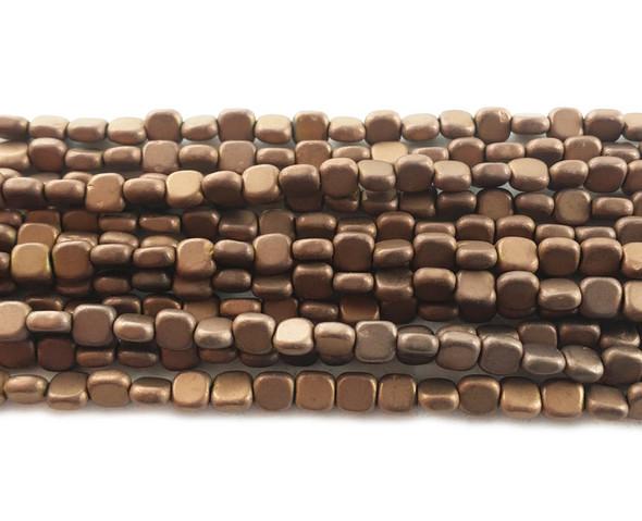 4x4mm Brown Hematite Flat Matte Square Beads