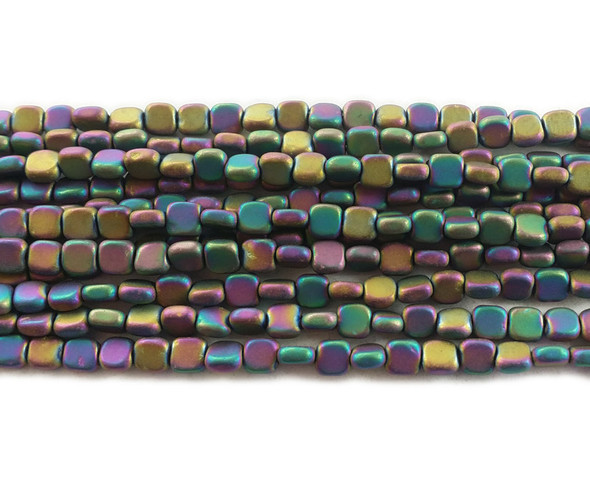 4x4mm Rainbow Multicolor Hematite Flat Matte Square Beads