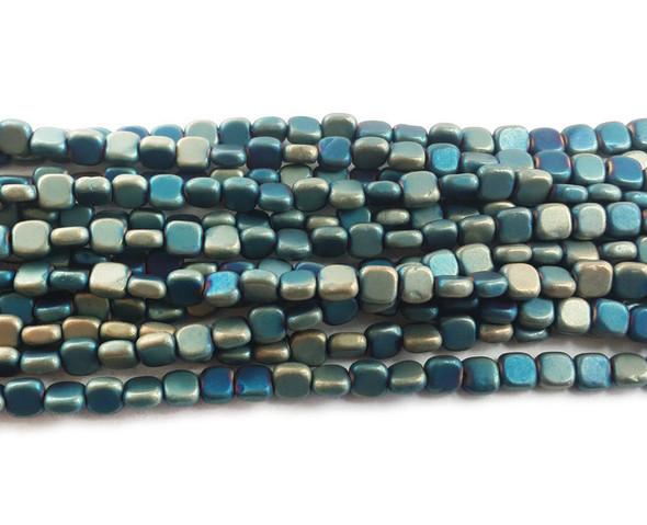 4x4mm Sea Blue Hematite Flat Matte Square Beads