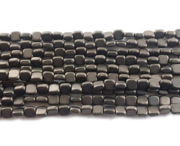 4x4mm Iron Gray Hematite Flat Matte Square Beads